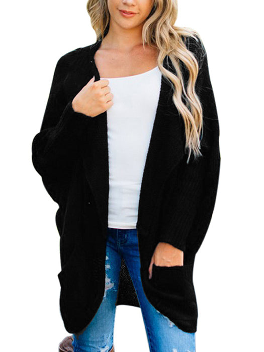 Knitted Pockets Bat Sleeve Open Front Sweater Cardigan - BelleChloe