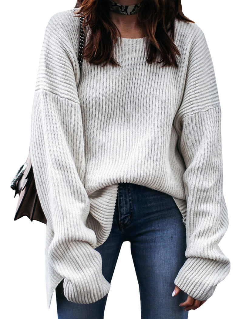 White Twist Back Sweater-Sweaters-BelleChloe