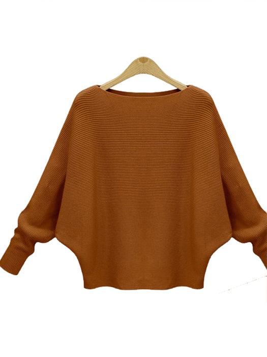 Solid Batwing Sleeve Sweater Thickening Casual Knitted Pullovers-Sweaters-BelleChloe