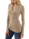Solid Color Casual Shawl Collar Lace Up Fit Knitted Sweater - BelleChloe