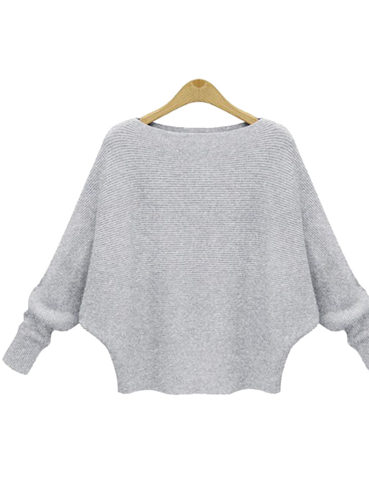 Solid Batwing Sleeve Sweater Thickening Casual Knitted Pullovers - BelleChloe
