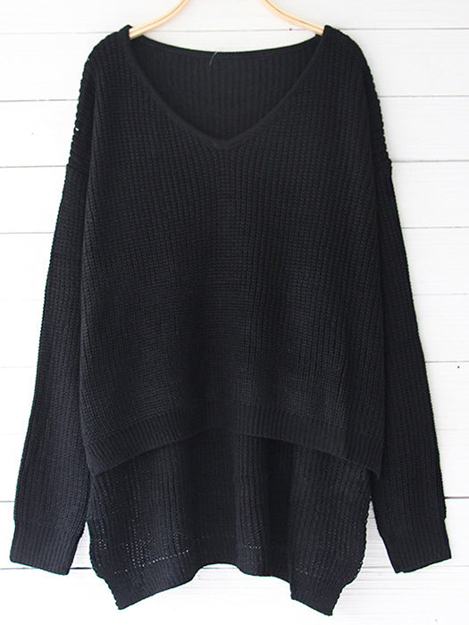 Solid Color V-Neck Striped Casual Basic Sweater-Sweaters-BelleChloe