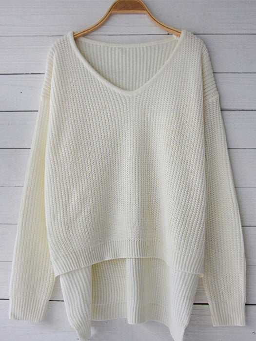 Solid Color V-Neck Striped Casual Basic Sweater - BelleChloe