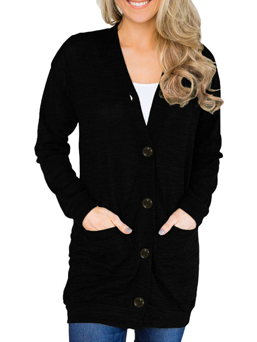 Solid Color Buttons Pockets Lightweight Cardigan-Cardigans-BelleChloe