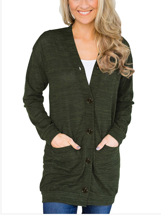 Solid Color Buttons Pockets Lightweight Cardigan - BelleChloe