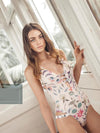 One Piece High Cut Floral Printed Swimwear - BelleChloe