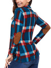 Long Sleeve Plaid Prints Elbow Patch Casual Sweaters - BelleChloe