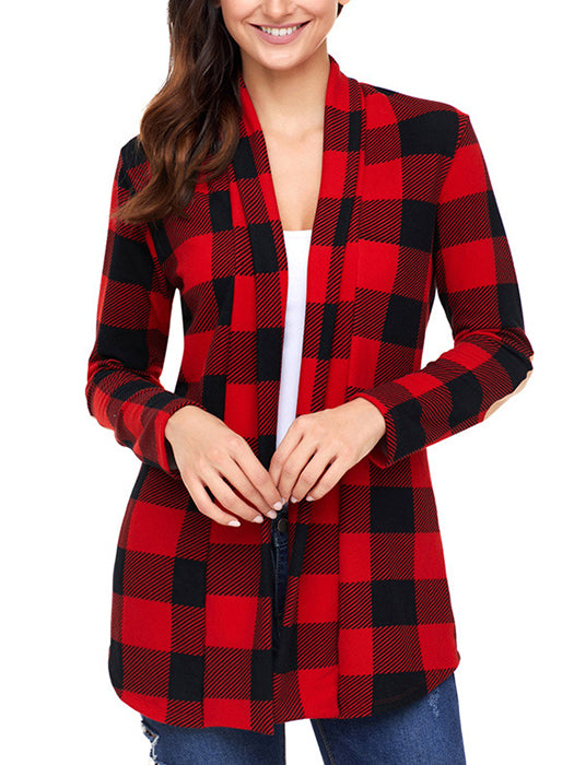 Long Sleeve Plaid Prints Elbow Patch Casual Sweaters-Cardigans-BelleChloe