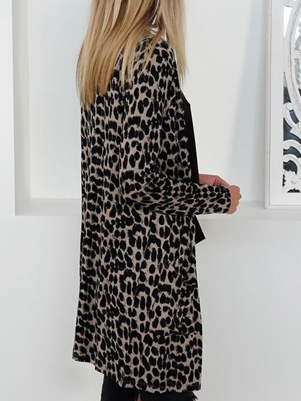 Casual Leopard Print Long Cardigan - BelleChloe