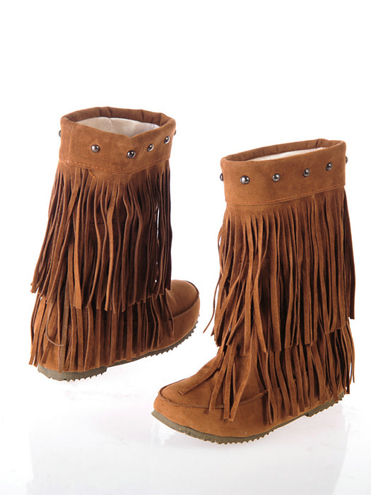 Chic Increased Within Abrasive Tassel Boots - BelleChloe