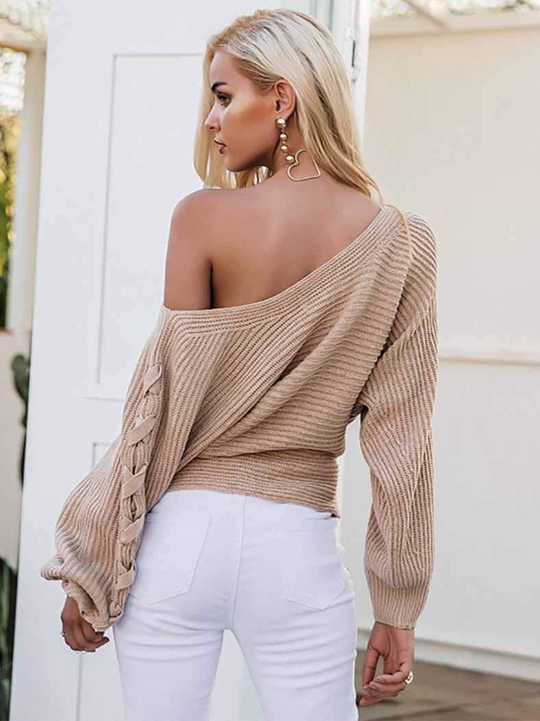Lace Up One Shoulder Winter Knitted Sweater-Sweaters-BelleChloe