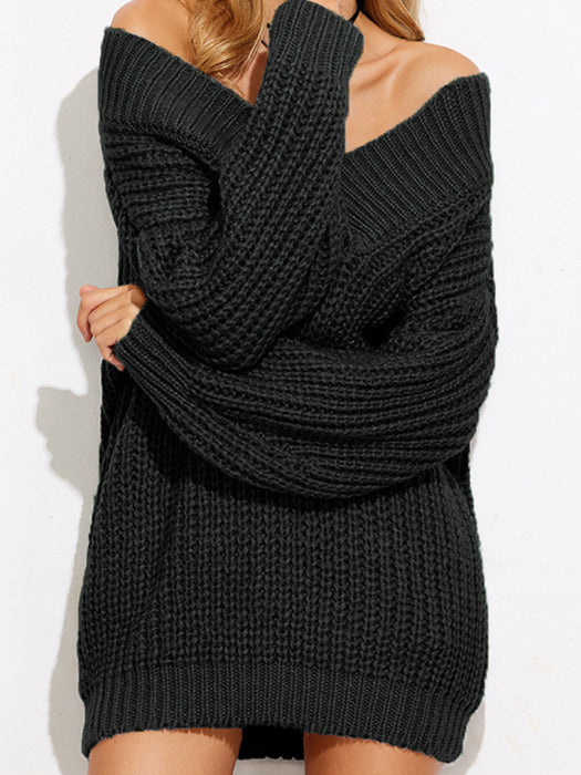 Off Shoulder Chunky Knitted V-Neck Oversized Sweater - BelleChloe