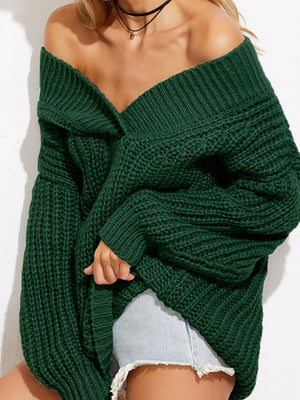 Off Shoulder Chunky Knitted V-Neck Oversized Sweater-Sweaters-BelleChloe
