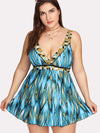 Printed Women Swimdress Plus Size Bodysuit