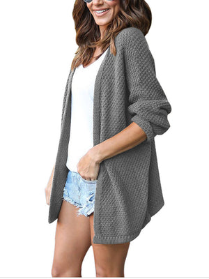 Casual Solid Color Long Sleeve Waffle Knitted Cardigan Sweater - BelleChloe