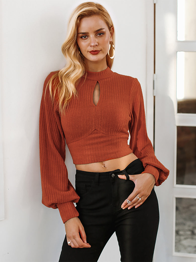 Sexy Hole Lantern Sleeve Crop Elegant Backless Bow Tie Shirt-Sweaters-BelleChloe