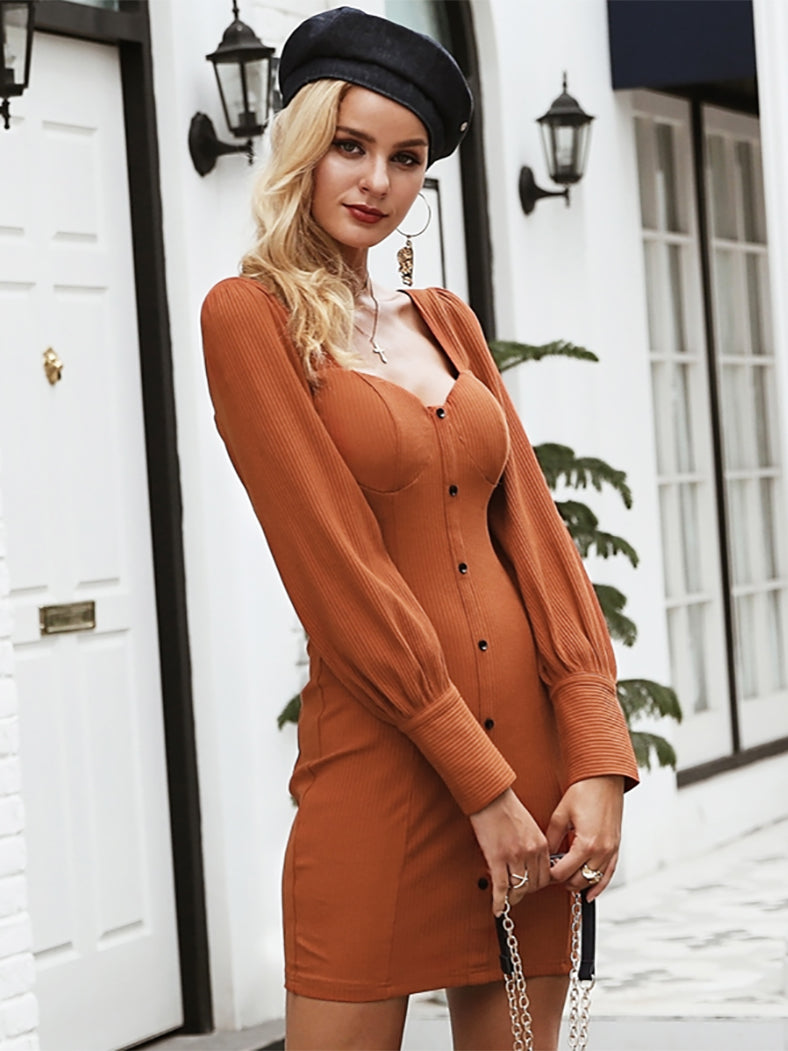 Front Btton Sexy Dress Women Long Sleeve Zipper Bodycon Mini Dress - BelleChloe