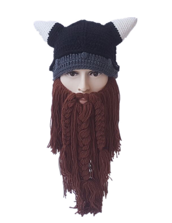 Autumn And Winter Adult Horned Bearded Viking Funny Woolen Hat