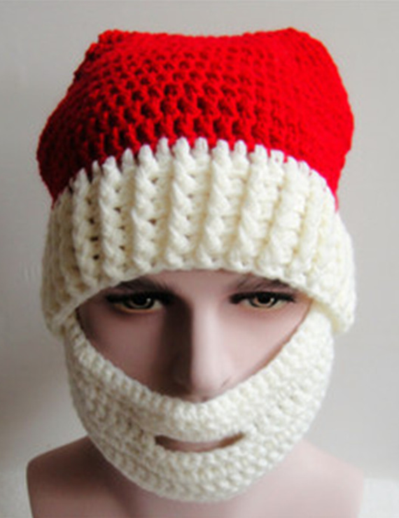 Christmas Hair Ball Knit Beard Mask Wool Hat - BelleChloe