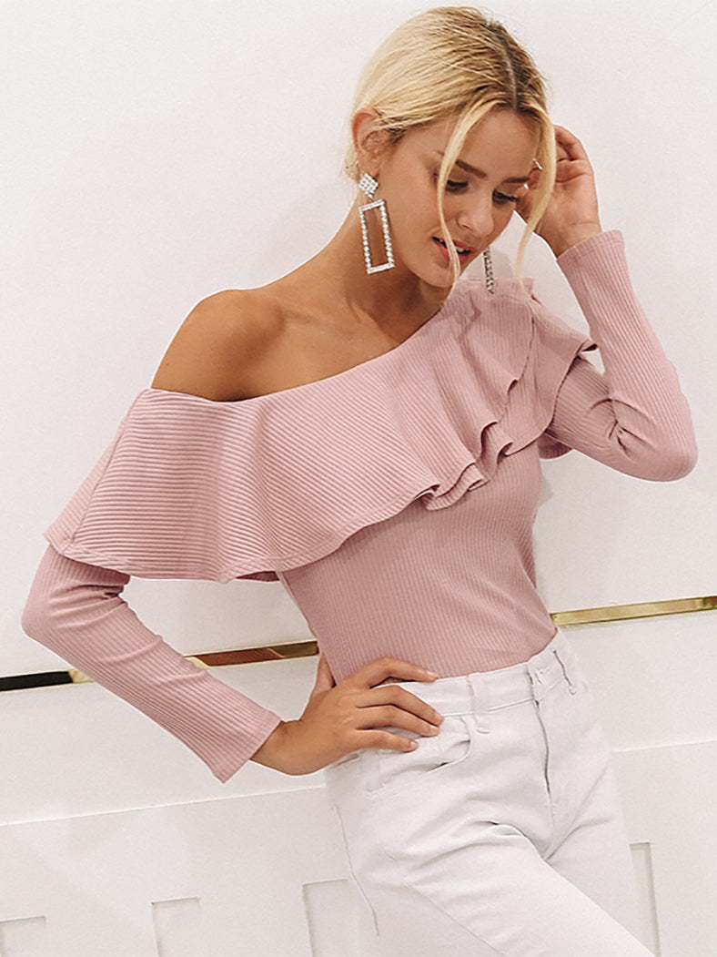 One Shoulder Ruffles Knitted Casual Cotton Blouse Shirt-Sweaters-BelleChloe