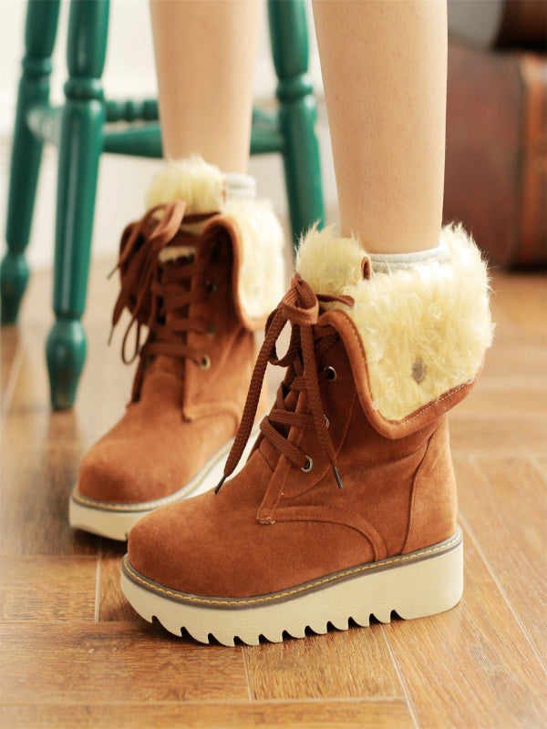 Fashion Flanging Middle Tube Low Heel Lace Up Boots - BelleChloe