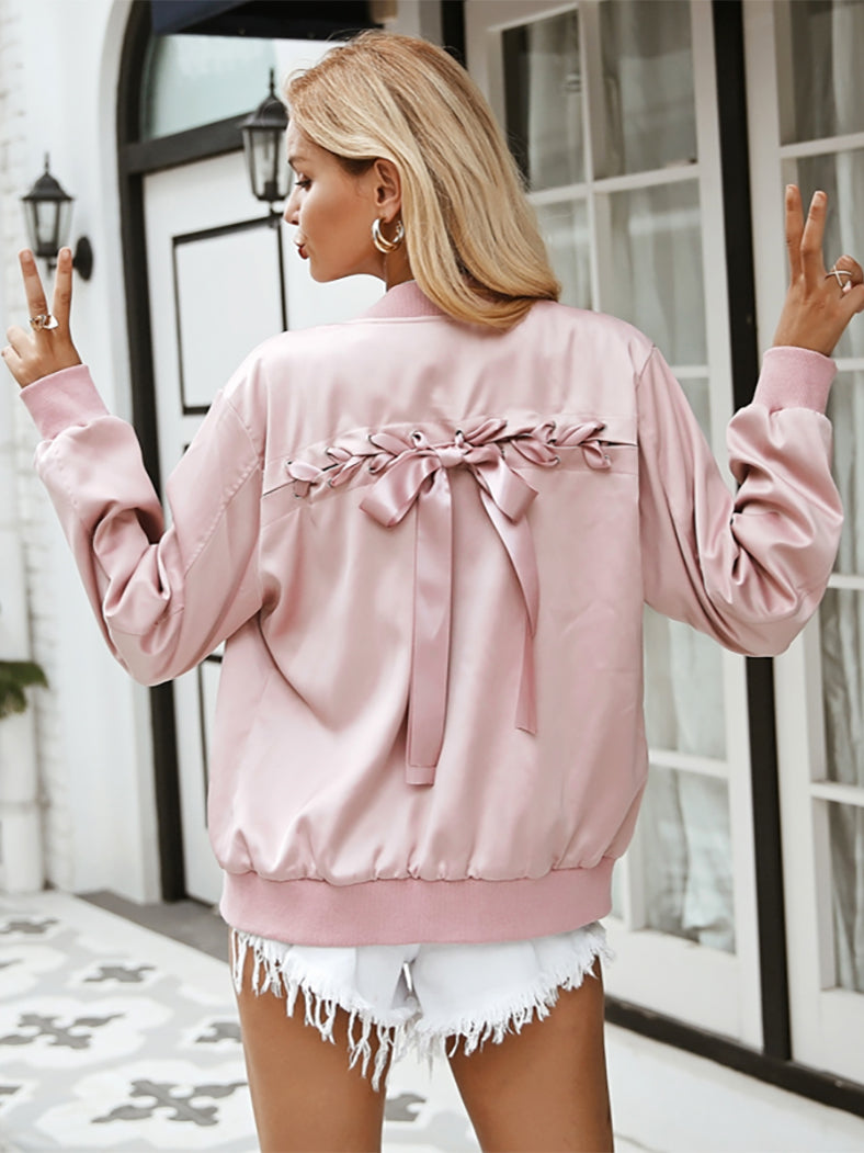 Elegant Satin Basic Jacket Coat  Lace Up Pocket Biker Jacket - BelleChloe
