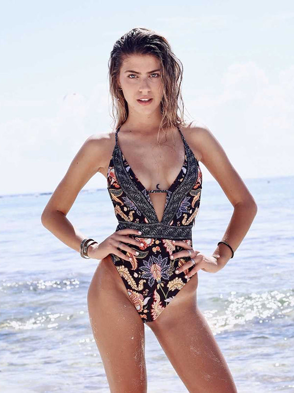Sexy Deep V Striped Cross Print One Piece Swimsuit - BelleChloe