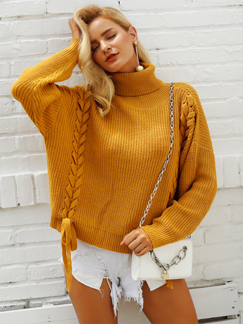 Side Lace Up Turtleneck Batwing Sleeve Loose Casual Jumper-Sweaters-BelleChloe