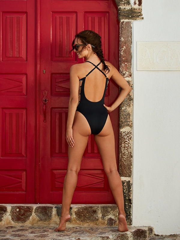 Solid Color Deep V Strap Sexy Swimsuit - BelleChloe