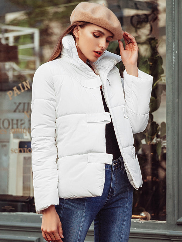 Turndown Collar Loose Parka Casual Thick  Warm Jacket
