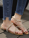 Toe Gold-Tone Footband Fashion Flat Sandals