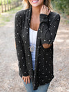 Polka Dot Draped No Buttons Long Sleeve Casual Coat-Coats-BelleChloe