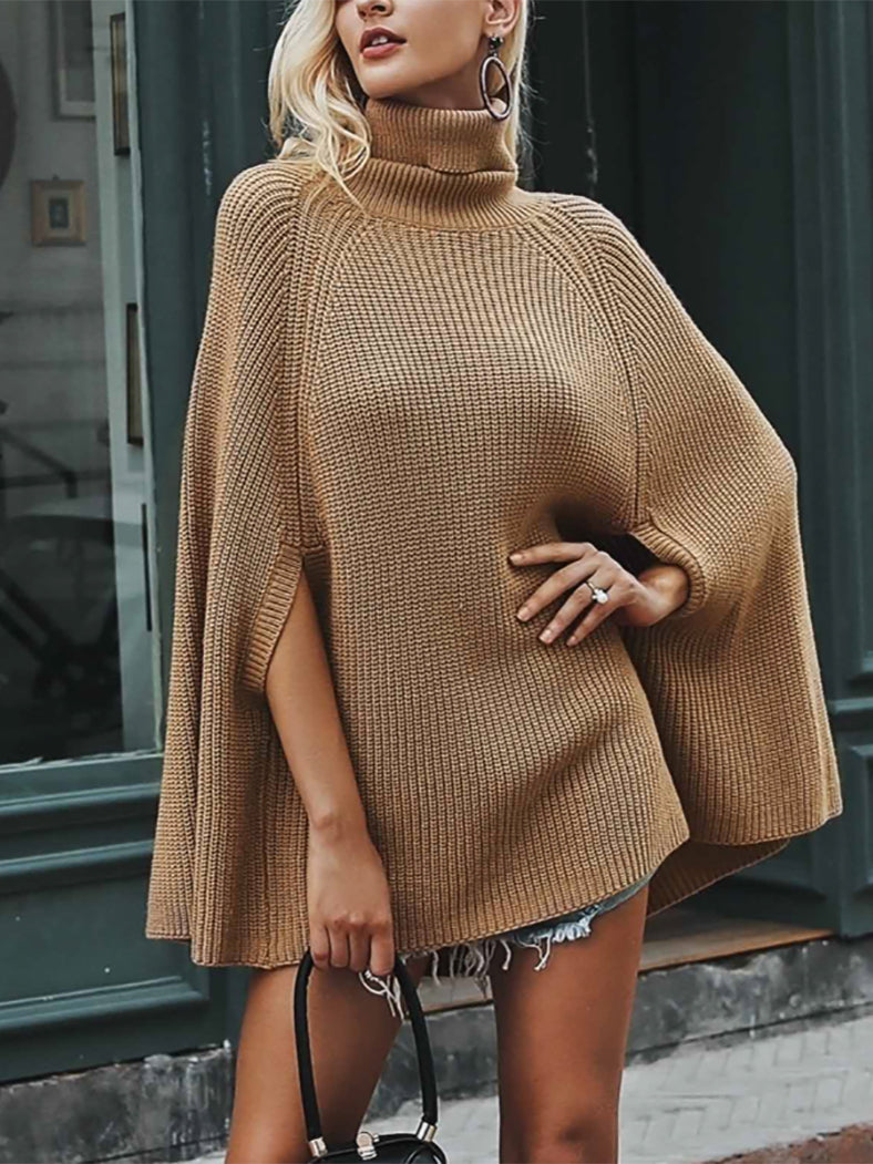 Knitted Turtleneck Cloak Casual Pullover Streetwear Sweaters-Sweaters-BelleChloe