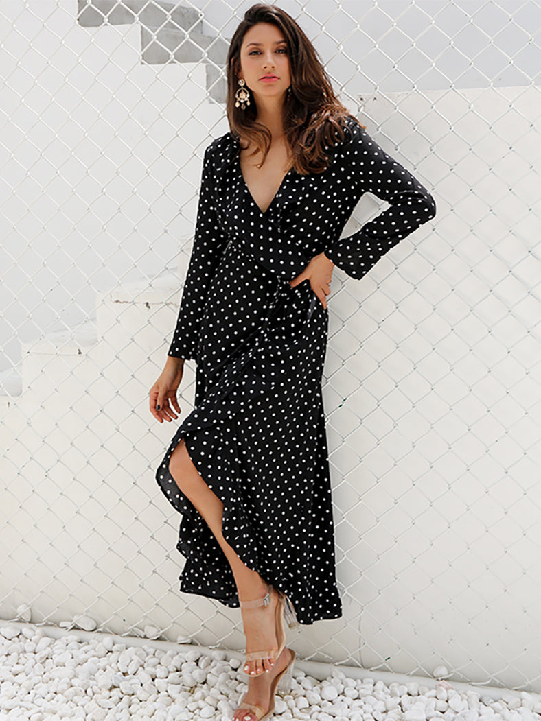 Autumn Long Sleeve Polka Dot Ruffle Wrap Dress - BelleChloe