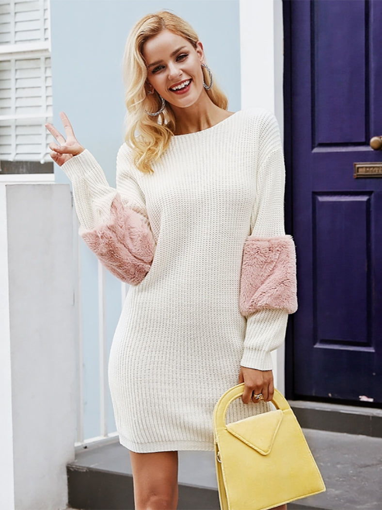 Casual Knitted O Neck Sweater Dress Loose Casual Spliced Dress - BelleChloe
