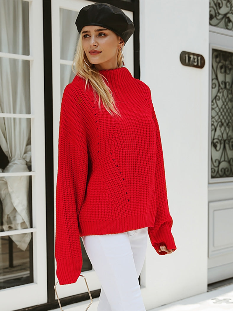 Turtleneck Knitted Sweater-Sweaters-BelleChloe