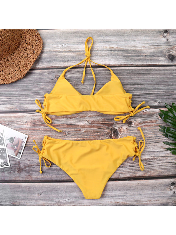 Solid Color Hanging Neck Sexy Low Waist Bikini - BelleChloe