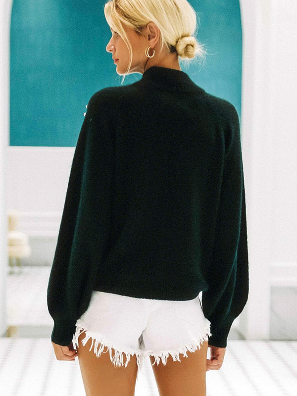 Turtleneck Knitted Lantern Sleeve Pullover Sexy  Fashion Sweater
