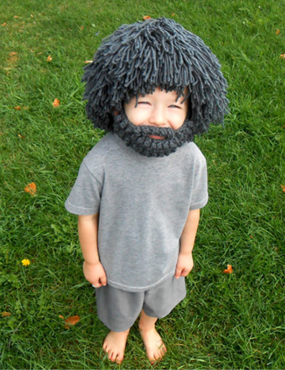 Autumn And Winter Beard Wig Wool Hat Handmade Knit Funny Straw Hat