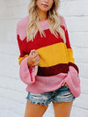 Colorful Stripe Loose Round Neck Sweaters Rainbow Sweaters - BelleChloe