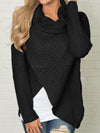 Irregular Buttons Ruffle Collar Cute Pullover Sweater - BelleChloe