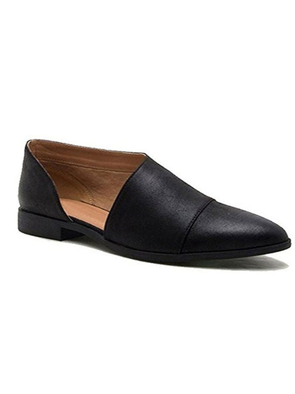 Large Size Pointed Toe Flat Loafers - BelleChloe