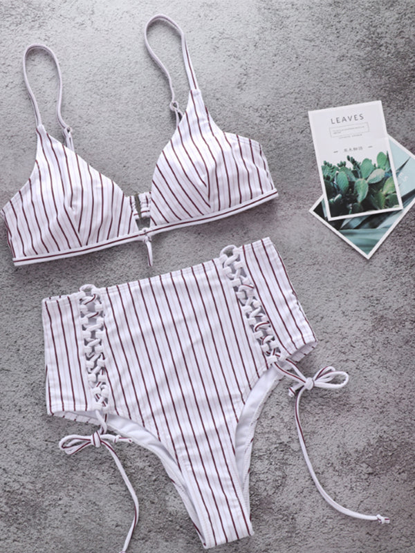 Adjustable High Waist Stripe Bandage Swimsuit - BelleChloe