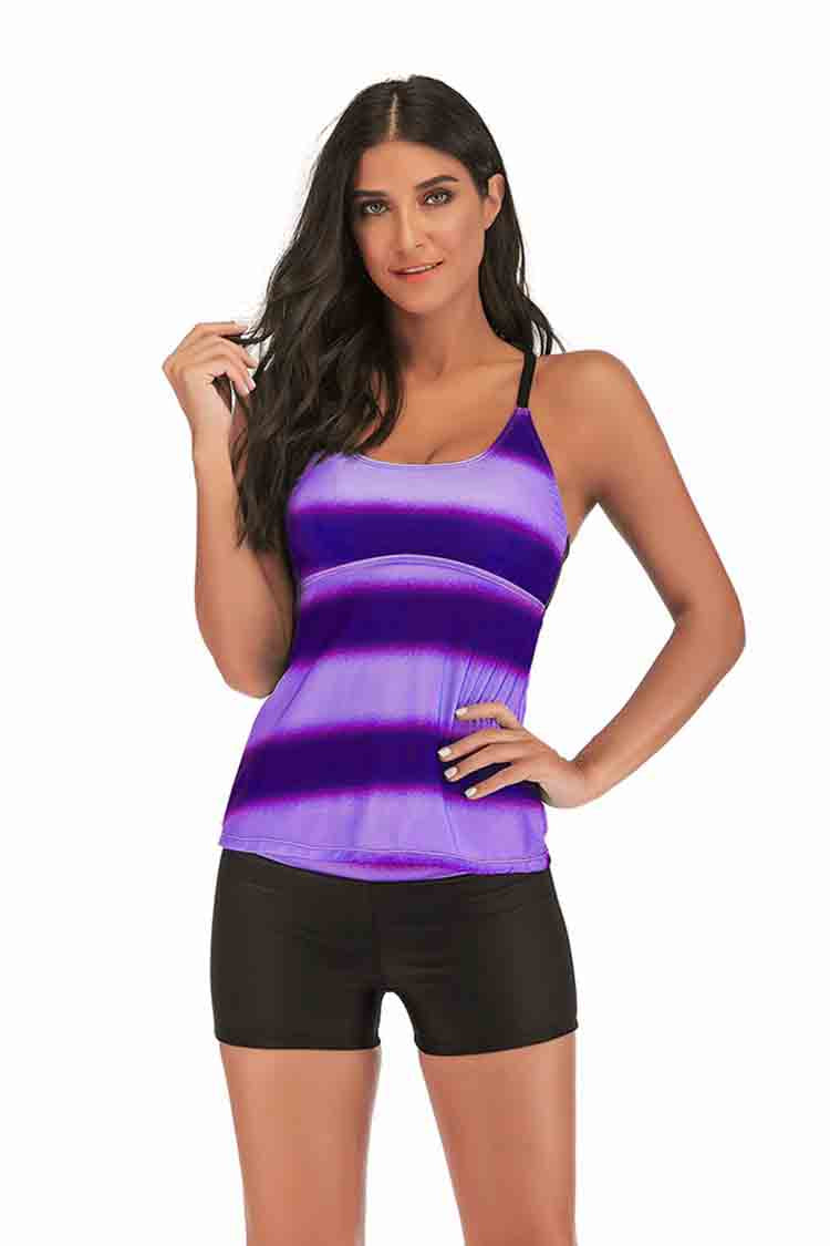 SLV  PLUS SIZE BRIGHT STRIPE BATHING SUIT - BelleChloe