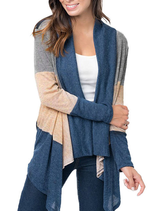 Irregular Hem Color Block Long Sleeve Drape Front Open Cardigan - BelleChloe
