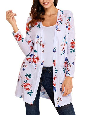 【Quality】Floral Printed Trumpet Sleeves Hem Front Open Split Cardigan