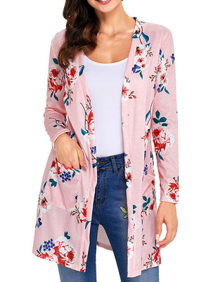 Floral Printed Long Sleeves Pockets Cover Up Open Front Cardigan - BelleChloe