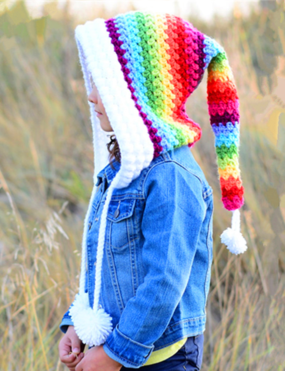 Winter Thickening Wool Rainbow Long Tail Warm Hat - BelleChloe