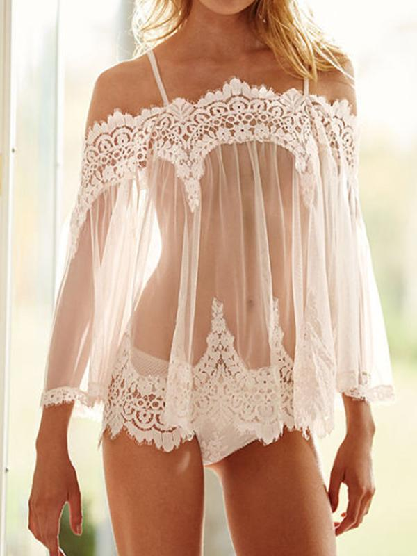 Sexy Women Lace Lingerie Off Shoulder Sleepwear Transparent Mesh Nightgown - BelleChloe