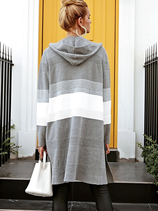 Hooded Knitted  Patching Long Casual Cardigan - BelleChloe